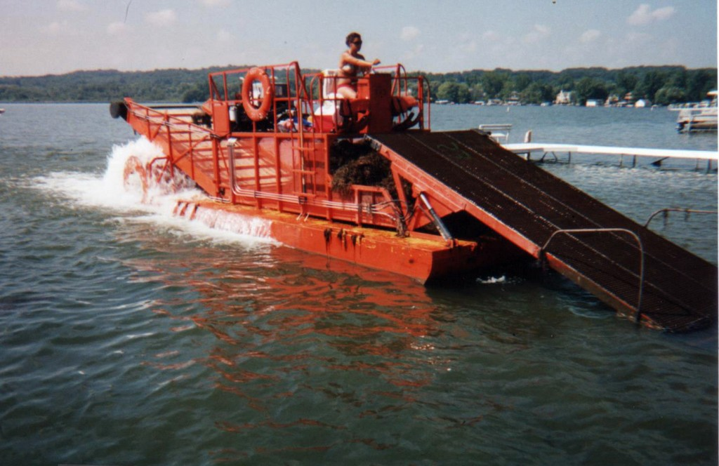 Orange shore barge