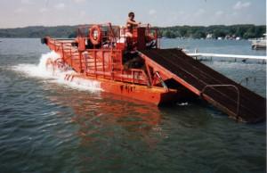 Orange shore barge